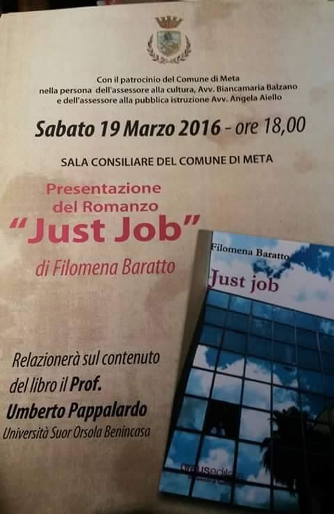 """META DI SORRENTO: PRESENTAZIONE DEL ROMANZO """"JUST JOB"""" DI FILOMENA BARATTO"""