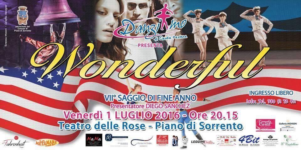 """Danziamo di Claudia Pastena """"Wonderful"""" saggio di fine anno venerdì 1 luglio 2016"""