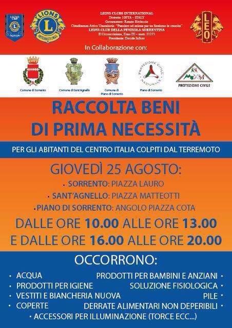 TERREMOTO NEL CENTRO ITALIA: RACCOLTA VIVERI E GENERI DI PRIMA NECESSITA' IN PENISOLA SORRENTINA