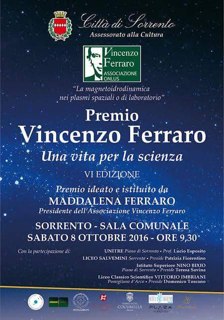 Maddalena Ferraro, VI Edizione Premio Vincenzo Ferraro, a Sorrento sabato 8 Ottobre