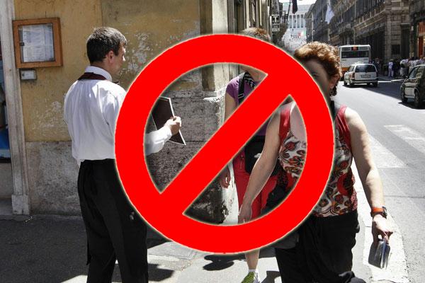 "SORRENTO ORDINANZA SINDACALE – ""STOP PETULANZA!"" NO ACCHIAPPA TURISTI."