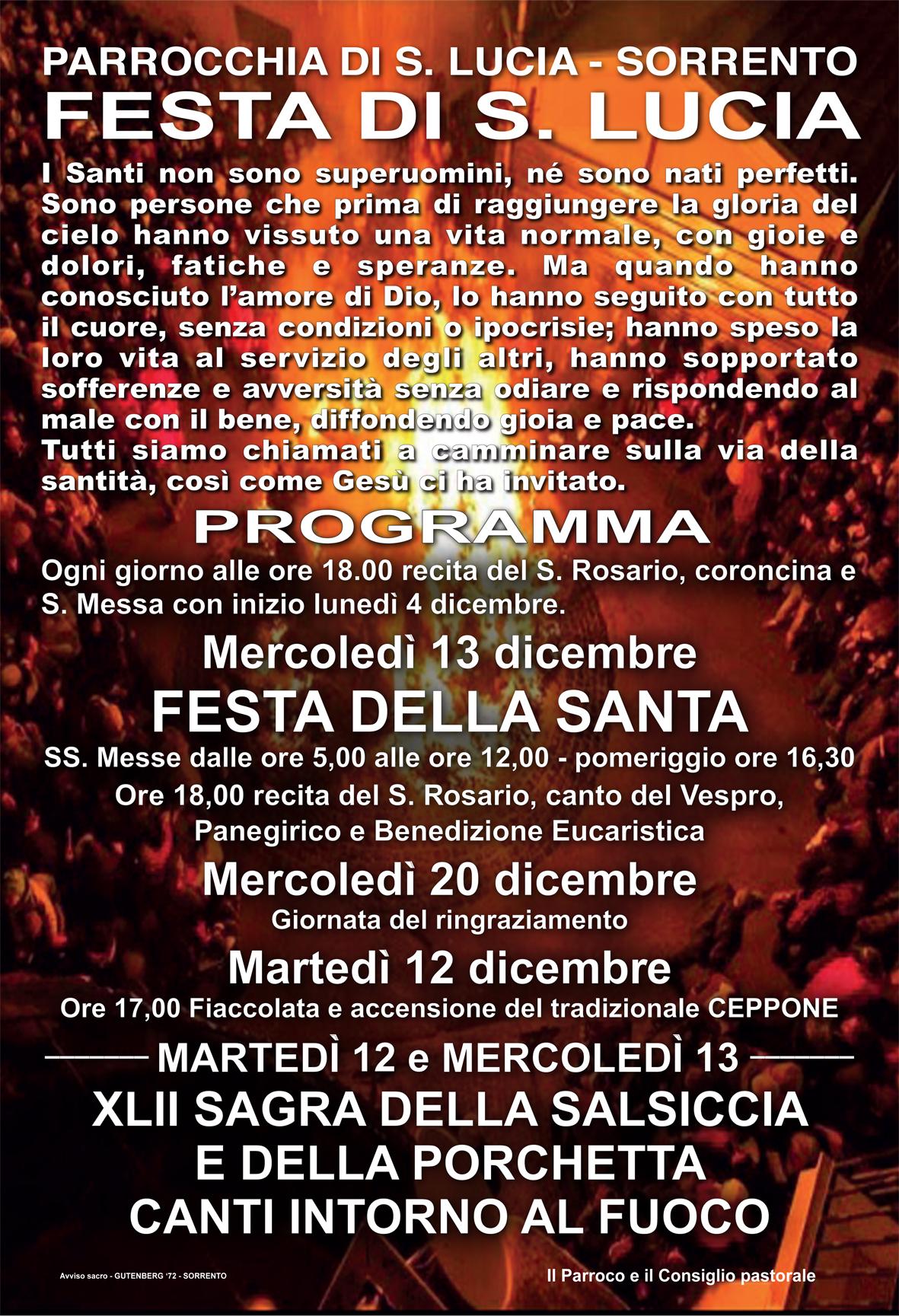 SORRENTO 13 DICEMBRE, TRADIZIONALE FESTA DI SANTA LUCIA
