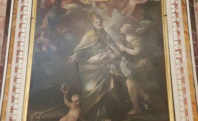 SORRENTO – NELLA CHIESA DEL S. ROSARIO, IL VESCOVO HA BENEDETTO IL QUADRO DI S. GENNARO DOPO IL RESTAURO.