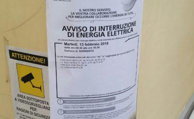 SORRENTO: A CARNEVALE  INTERRUZIONE DI ENERGIA ELETTRICA IN PARTE DEL CENTRO STORICO