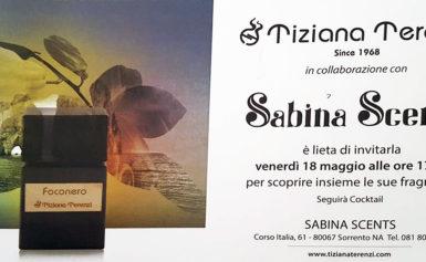 """OGGI, VENERDÌ 18 MAGGIO ALLE ORE 17.30 – PRESSO SABINA SCENTS ALCORSO ITALIA 61 A SORRENTO,SARÀ PRESENTATA """"FOCONERO"""" UNA DELLE ULTIME CREAZIONI DI TIZIANA TERENZI."""
