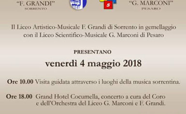 """AL GRAND'HOTEL COCUMELLA, VENERDÌ CONCERTO AD INGRESSO LIBERO IN OCCASIONE DEL GEMELLAGGIO TRA IL LICEO ARTISTICO – MUSICALE """"F. GRANDI"""" E IL LICEO SCIENTIFICO- MUSICALE """" G. MARCONI"""" DI PESARO"""
