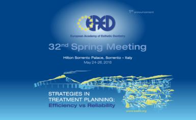 Sorrento, 24 al 26 maggio, all'Hilton Sorrento Palace il 32° Spring Meeting dell'European Academy of Esthetic Dentistry