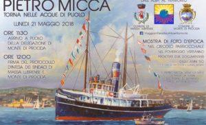 """MASSA LUBRENSE – LO STORICO RIMORCHIATORE A VAPORE """"PIETRO MICCA"""" TORNA A MARINA DI PUOLO"""