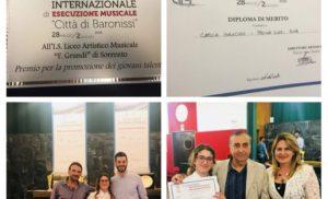 SORRENTO – IL LICEO ARTISTICO MUSICALE F. GRANDI PROTAGONISTA ALCONCORSO INTERNAZIONALE DI ESECUZIONE MUSICALE CITTÀ DI BARONISSI (di Orsola Miccio).