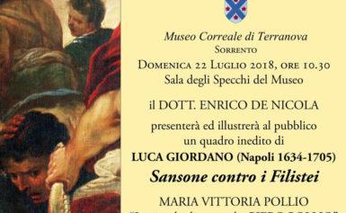 AL MUSEO CORREALE DI SORRENTO IL 22 LUGLIO SARA' PRESENTATO UN QUADRO  INEDITO DI LUCA GIORDANO