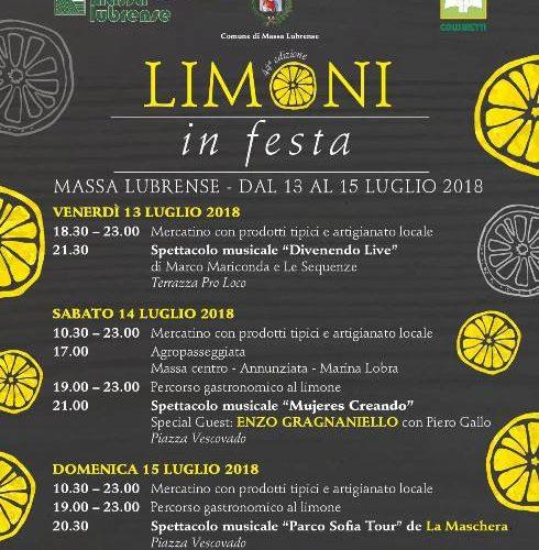 """MASSA LUBRENSE – """"LIMONI IN FESTA"""" NEL FINE SETTIMANA, OSPITE ENZO GRAGNANIELLO."""