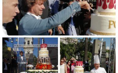 POMPEI – TORTA DA RECORD PER FESTEGGIARE LA CITTADINANZA ONORARIA AD ALBERTO ANGELA