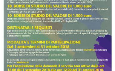 BORSE DI STUDIO PER I FIGLI DEI DIPENDENTI DELLE AZIENDE TURISTICHE: ULTIMI GIORNI PER CANDIDARSI