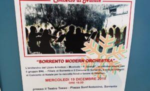 """SORRENTO: AL TEATRO TASSO MERCOLEDI' 19 CONCERTO DI NATALE DELLA """"SORRENTO MODERN ORCHESTRA"""" DEL LICEO ARTISTICO MUSICALE """"GRANDI"""""""