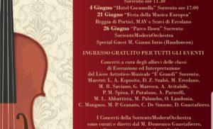 """SORRENTO: L'ORCHESTRA DEL LICEO """"F.GRANDI"""" IN CONCERTO DAL 3 AL 26 GIUGNO"""
