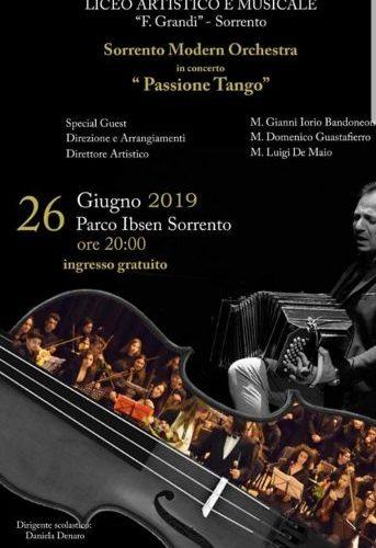 """SORRENTO, PARCO IBSEN: ALLE 20.00, """"PASSIONE TANGO"""" CONCERTO DELLA SORRENTO MODERN ORCHESTRA"""