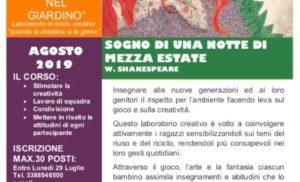 """META: PARTE AD AGOSTO """"IL TEATRO NEL GIARDINO"""", LABORATORIO DI RICICLO CREATIVO"""