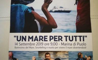 """MARINA DI PUOLO: SABATO 14 SETTEMBRE """"UN MARE PER TUTTI"""" IMMERSIONI GUIDATE PER RAGAZZI DIVERSAMENTE ABILI"""