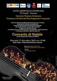 """SORRENTO: MARTEDI' 17 CONCERTO DI NATALE DELLA """"SORRENTO MODERN ORCHESTRA"""" DEL LICEO ARTISTICO MUSICALE """"F. GRANDI"""" AL TEATRO TASSO"""