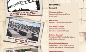 """TORRE ANNUNZIATA: LUNEDI' 27 """"GIORNATA DELLA MEMORIA"""" AL LICEO GIORGIO de CHIRICO"""