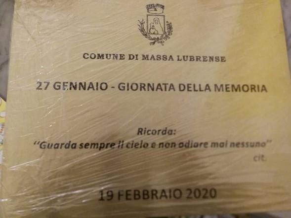 MASSA LUBRENSE, GIORNATA DELLA MEMORIA: MERCOLEDI' 19 SCOPRIMENTO TARGA COMMEMORATIVA